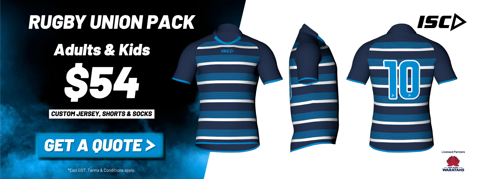 isc sport custom rugby union jersey, shorts & socks special price pack